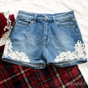 Urban Outfitters High-Waisted Denim Lace Short